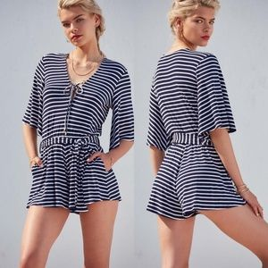 Lovers + Friends Cruiser Romper Navy/Wht Stripe S